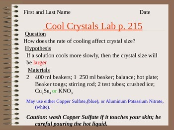 Answer Key for Cooled Crystals Lab