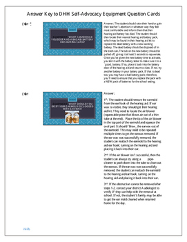 Answer Key for DHH Self-Advocacy Equipment Question Cards