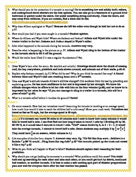 Answer Key for Disaster Strikes: Tornado Alley Reading Comprehension Packet