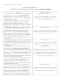 Answer Key for Summarizing Practice Worksheet