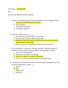 Answer Key to Scientific Inquiry Assessment