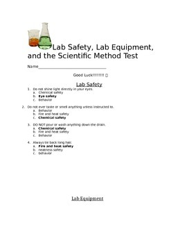 Answer Key to Scientific Method, Lab Safety, and Lab Equipment Test