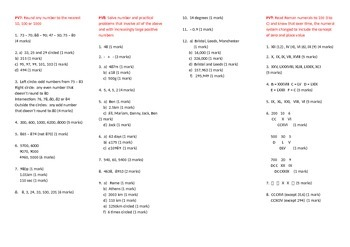 Answer Key/Mark Scheme for ALL Assessments