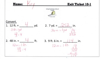Answer Keys for Go Math Chapter 10 Exit Slips/Quizzes/Quick Checks