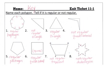Answer Keys for Go Math Chapter 11 Exit Slips/Quizzes/Quick Checks