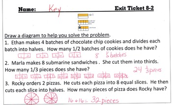 Answer Keys for Go Math Chapter 8 Exit Slips/Quizzes/Quick Checks