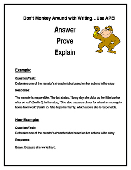 Answer, Prove, Explain Writing Strategy