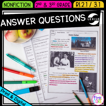 Answer Questions in Non Fiction Text- RI.2.1 & RI.3.1