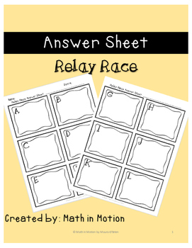Answer Sheet: Relay Race