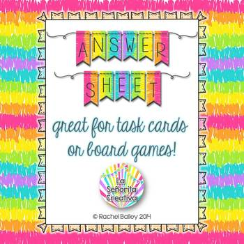 Answer Sheet for Task Cards or Board Games in Spanish *Freebie*