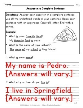 Answer in a Complete Sentence Grade 1