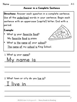 Answer in a Complete Sentence: Grade 2