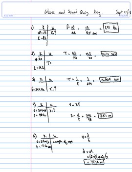Answer key for Physics 11 Waves and Sound Quiz