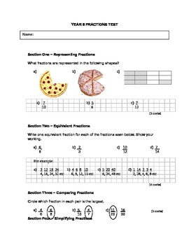 Answer key to Fractions Written Test