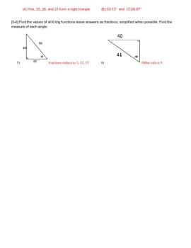 Answer key to Right Triangle Toon Trigonometry handout