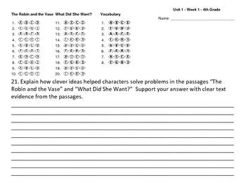Answer sheet (bubbles) Reading Wonders Unit one Week one 4th Grade