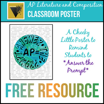 Answer the Prompt Classroom Poster for AP English Literature and Composition