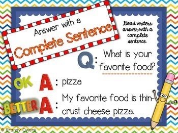 Answer with a Complete Sentence SCOOT Writing Game