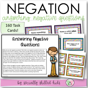 Answering Negative Questions {For Elementary Age or Ability Level}