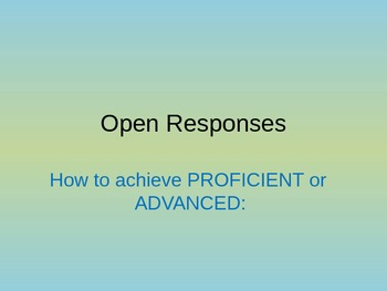 Answering Open-Response Questions on State Standardized Tests PowerPoint