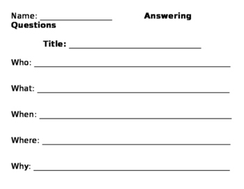 Answering Questions Graphic Organizer