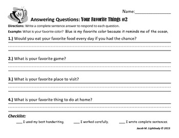 Answering Questions Set I (Writing Center/Station Activity)