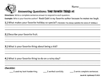 Answering Questions (Writing Center/Station Activity) Free Sample