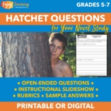 Hatchet Comprehension Questions - Constructed Response (PDF or Google Drive)