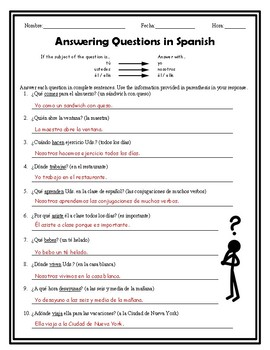 Answering Spanish Questions Present Tense