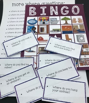 Answering Wh Questions Bingo for Speech Language or Special Education