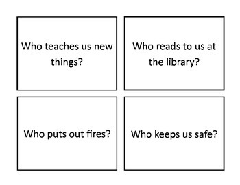 """Answering """"Who"""" Questions, Community Helpers, Preschool Theme"""