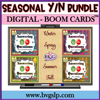 Answering Yes No Questions Boom Cards Digital SEASONAL BUNDLE - Teletherapy