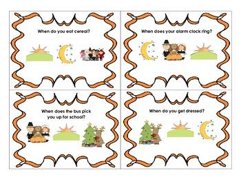 """Answering """"when"""" questions for preschool/kindergarten"""