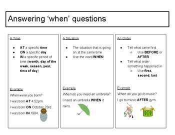 Answering 'when' questions visual