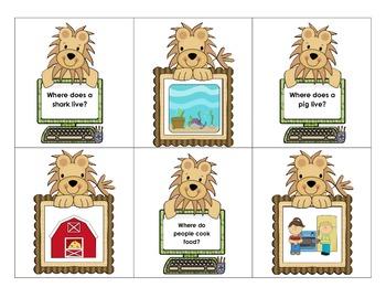 """where"" question cards for preschool/kindergarten"
