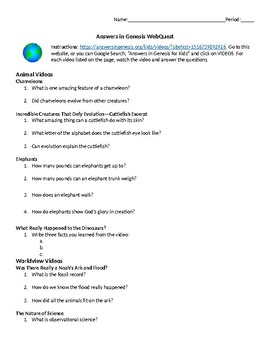 Answers in Genesis Webquest