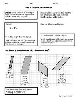Answers to Area of Polygons: Parallelogram
