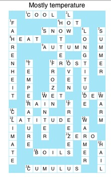 Answers to Temperature Crossword Puzzle