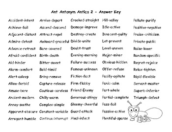 Ant Antonym Antics 2 - 72 pairs of antonyms