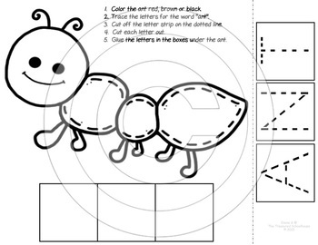 Ant Cut and Paste Worksheets to Color and Trace