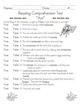 Ant Comprehension & Language Tests