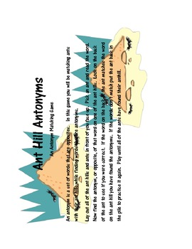 Ant Hill Antonyms -  Matching