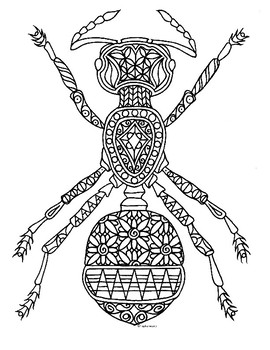 Ant Insect Zentangle Coloring Page by Pamela Kennedy TpT