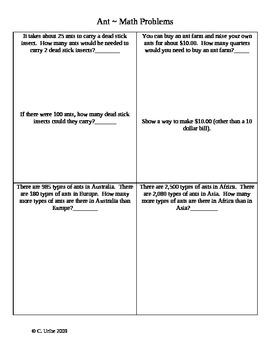 Ant ~ Math Activity Sheets ~ Houghton Mifflin® Reading ~ 2nd Grade