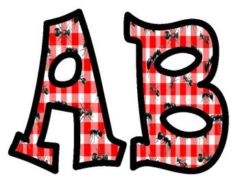 Ant Picnic Alphabet Bulletin Board Letters