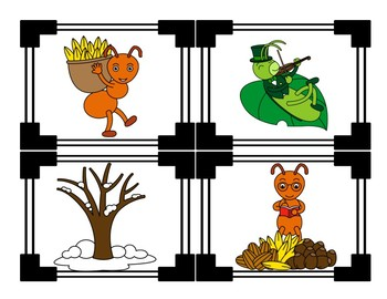 Ant and Grasshopper - Aesops Fables - Story Sequencing Cards