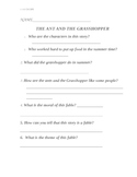 Ant and Grasshopper Fable Test 2nd Grade Reading