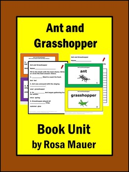 Ant and Grasshopper Literacy Task Cards