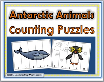 Antarctic Animals Counting Puzzles Numbers 1-10 - Winter Activity