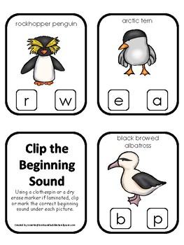 Antarctic Animals themed Beginning Sounds Clip It Game.Printable Preschool Game